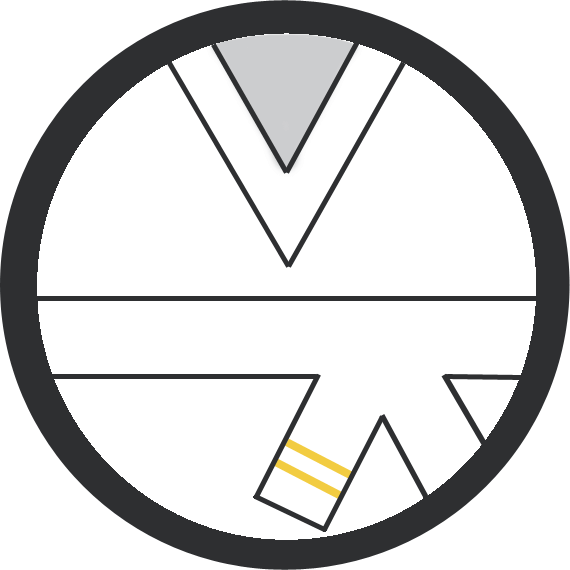Leominster Martial Arts White Belt 2 yellow stripe icon