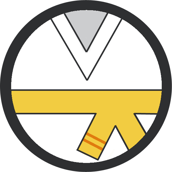 Leominster Martial Arts Yellow Belt 2 orange stripe icon