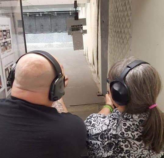 Leominster Firearms Training_Rick LeClair_Female Student_Handgun target practice indoor range