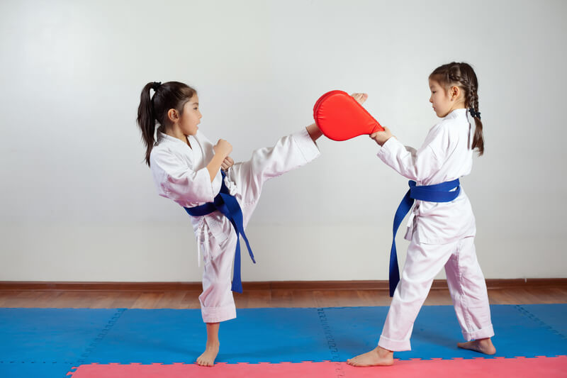 Leominster Martial Arts_Two Child Females Kick Sparring