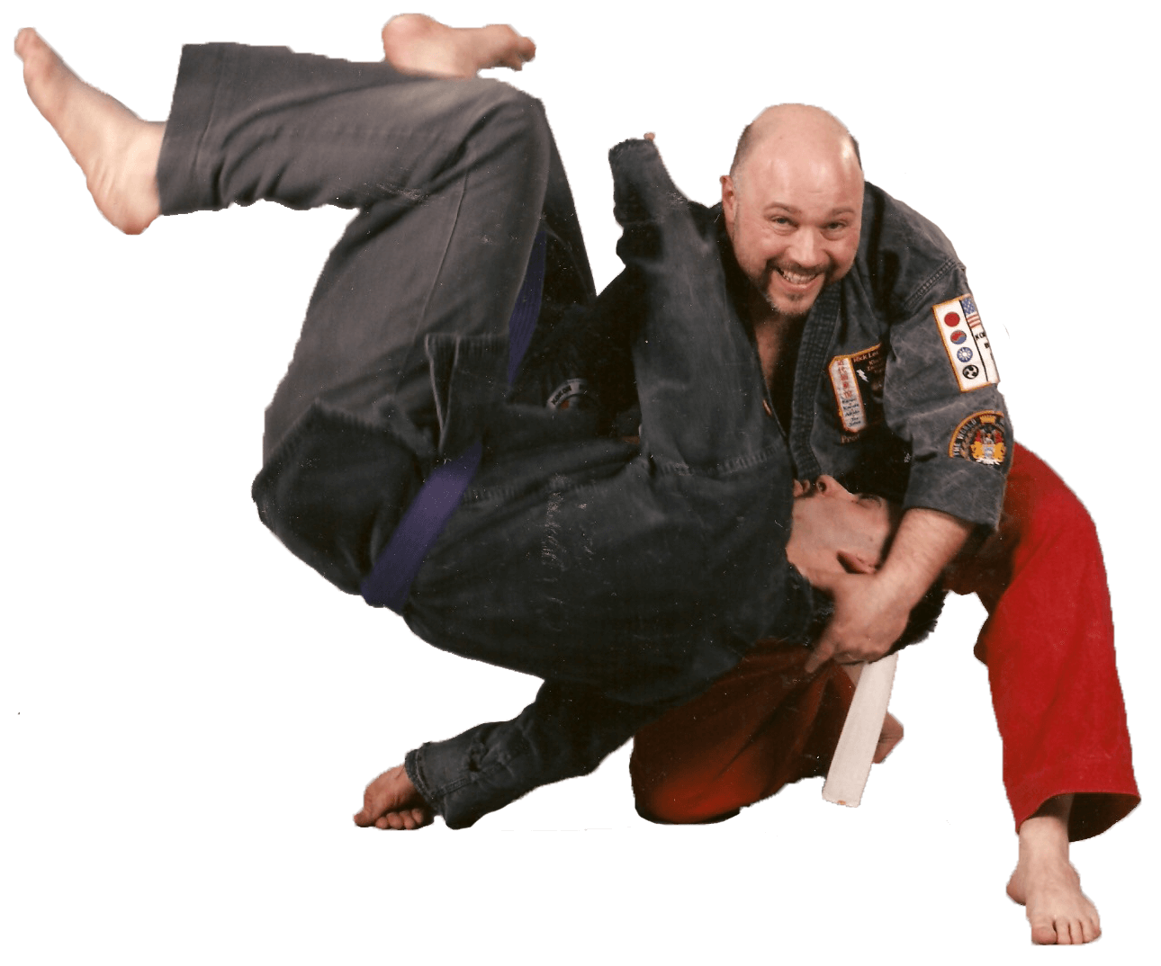 Leominster Martial Arts_Soke Rick LeClair throwing Sensei Farrow